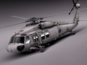 3d interior black sikorsky uh-60a