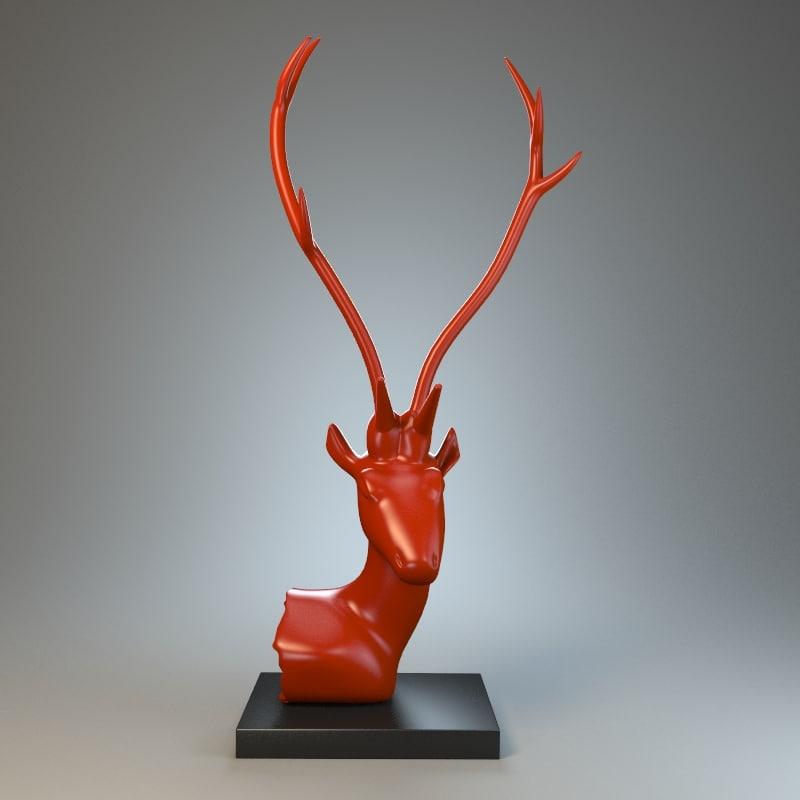 3d deer sculpture model
