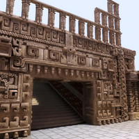 3d aztec temple room interior