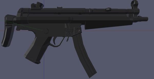 modern sub machine gun 3d blend