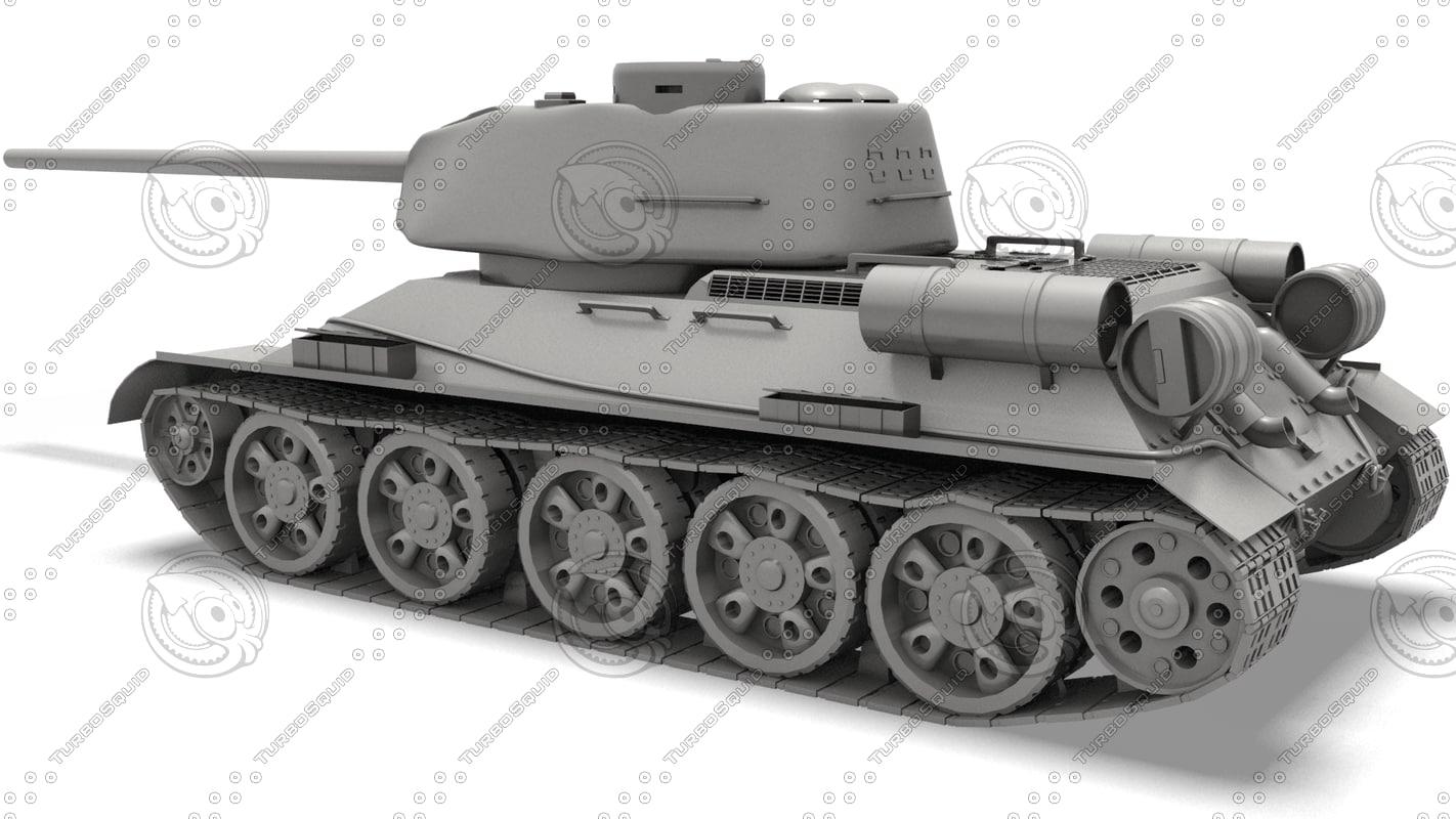 3d model of soviet tank t-34-85
