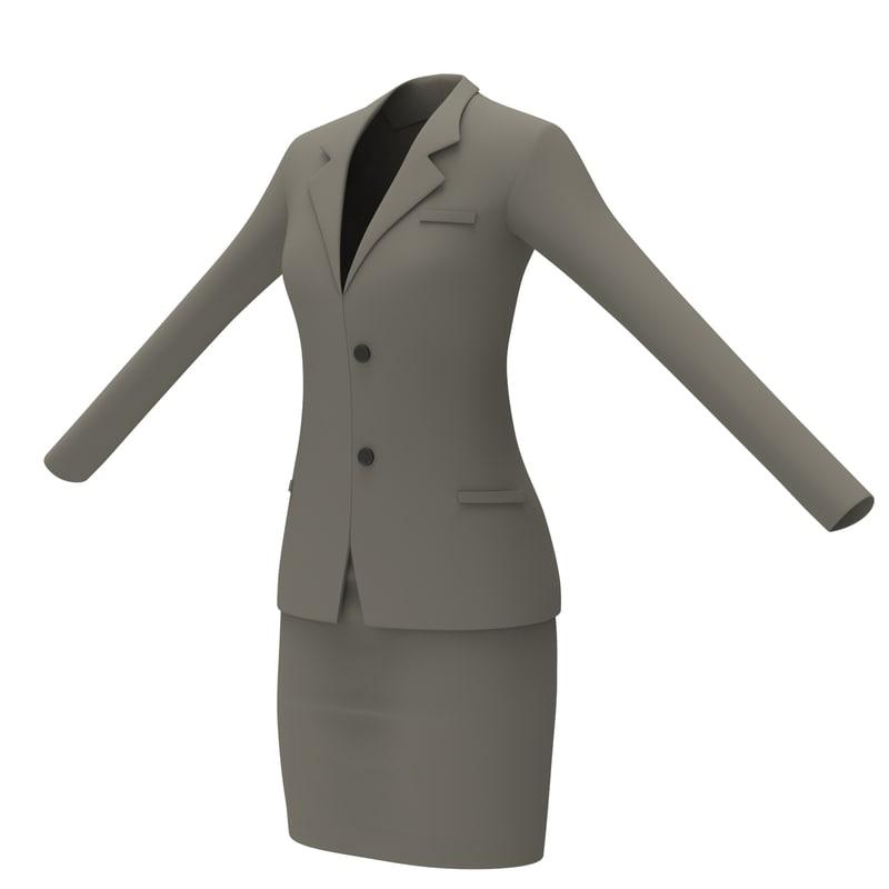 3d model female office dress