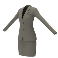 3d model female office dress