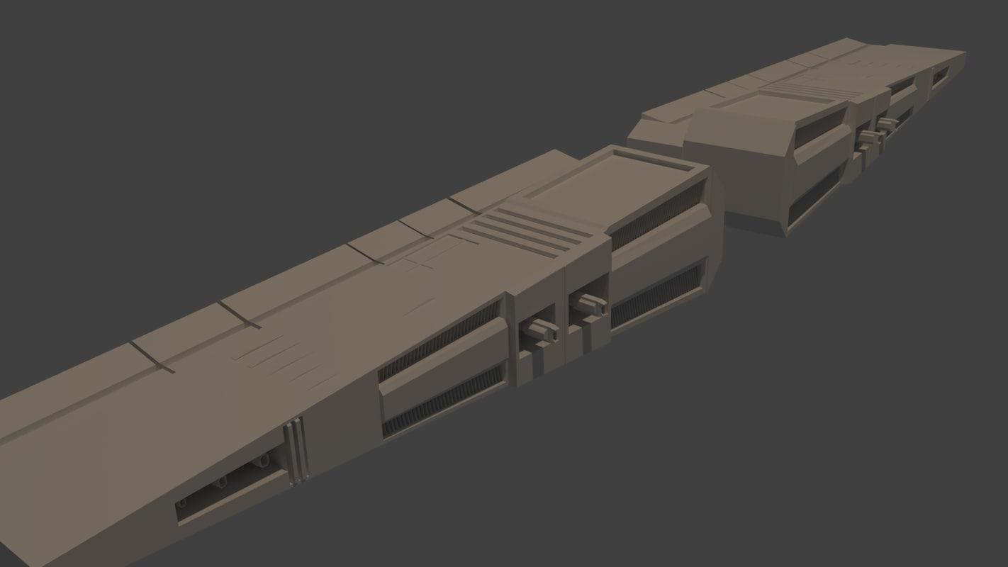 free blend model spaceship wings