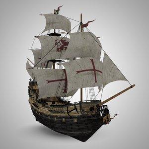 sailing galleon pirate 3d model