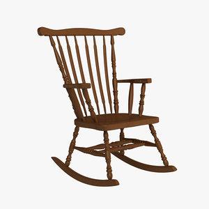 wooden rocking chair 3d 3ds