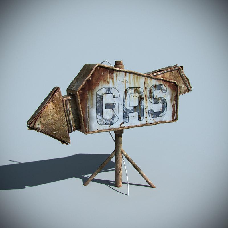 gas station sign 3d model