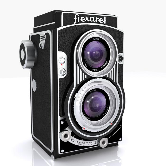 3d vintage flexaret camera lens model