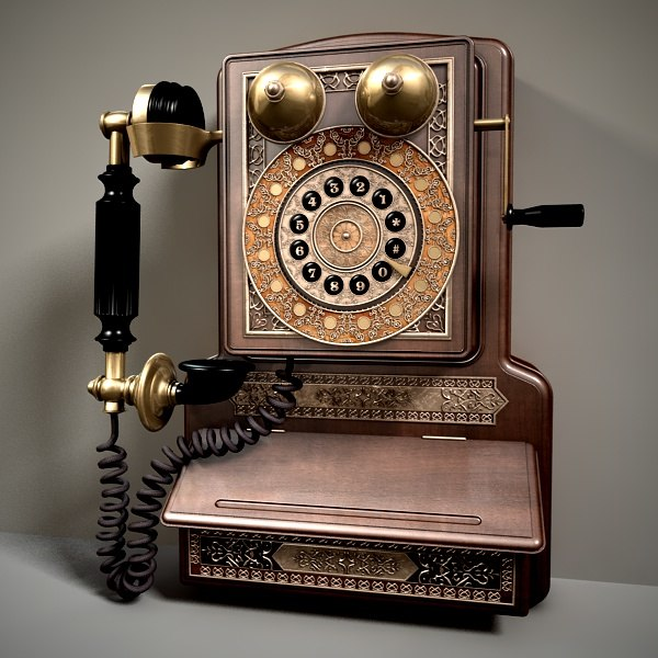 3d model antique dial telephone