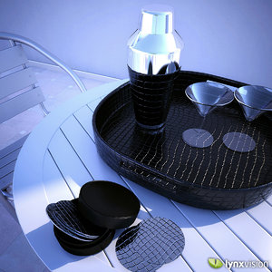 3d model cocktail set tray