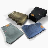 3d model jeans folded