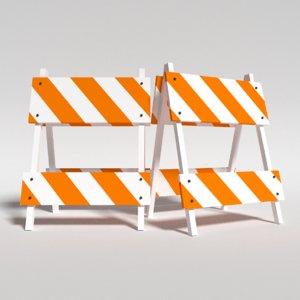 3d construction barricade model