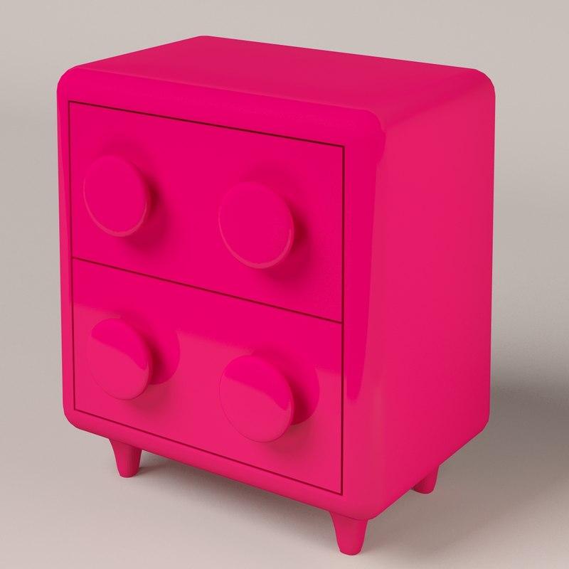 modern pink nightstand 3d model