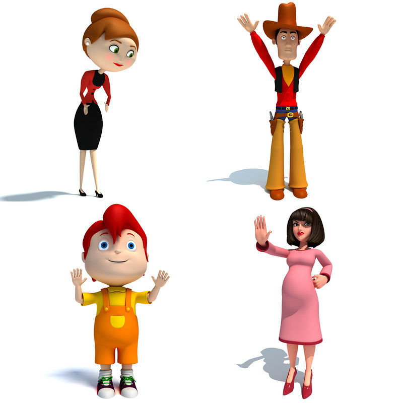 rigged cartoon characters 3d max