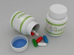 3d model pills bottle