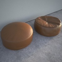 3d leathered pouf seats model