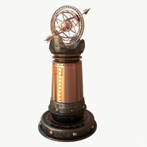 3d model steampunk armillary pillar