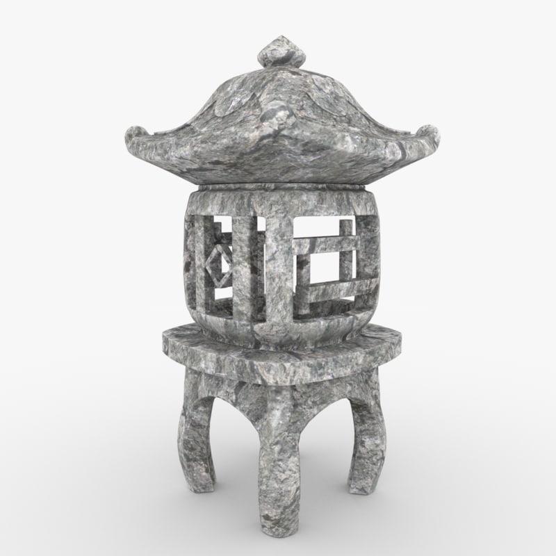 3d oriental stone lantern model