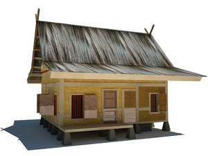 3d indonesian traditional house model