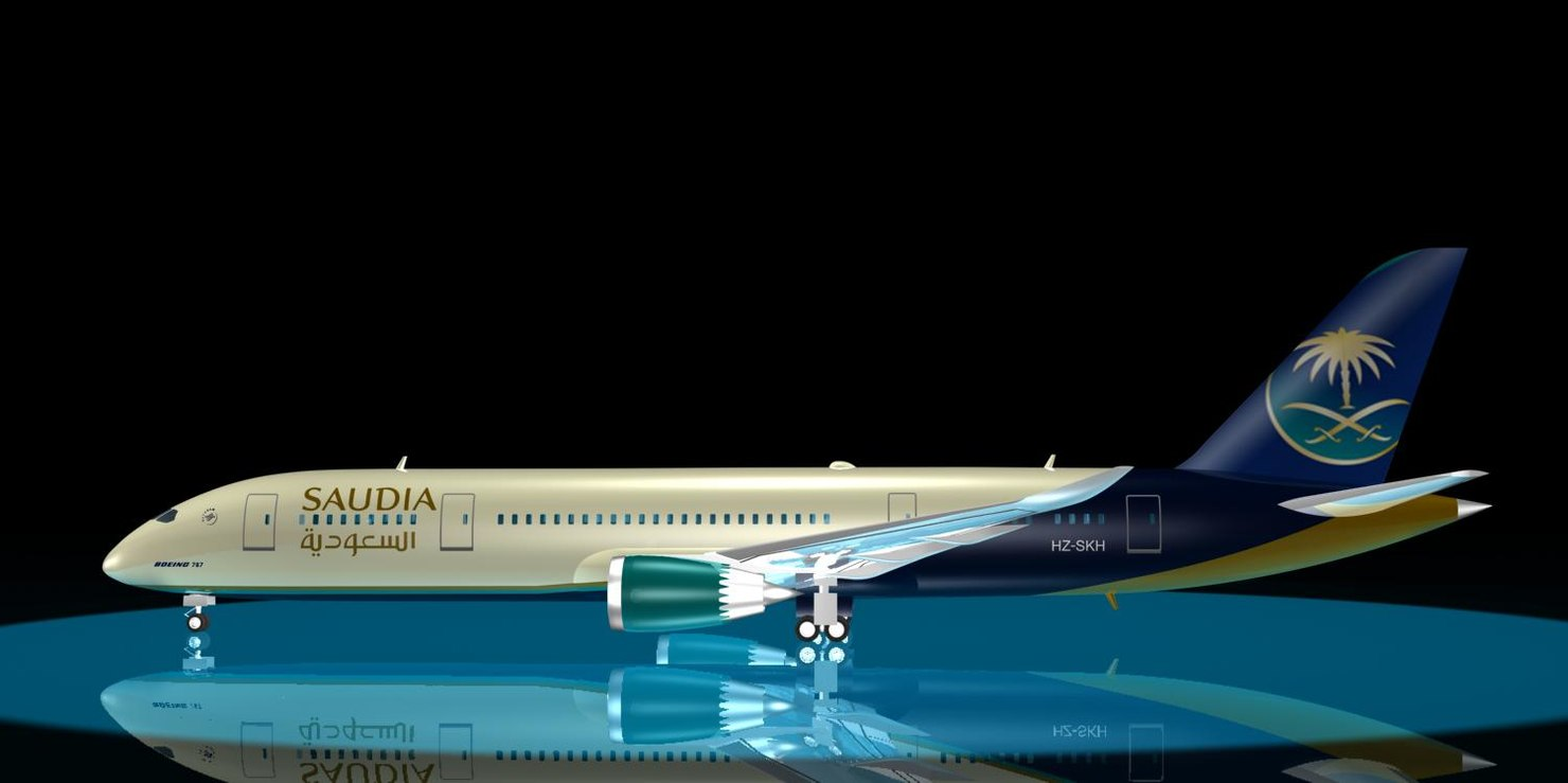 saudia 787-8 dreamliner 787 3d model