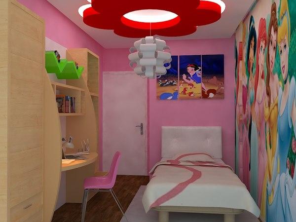 girl room realistic 3d model