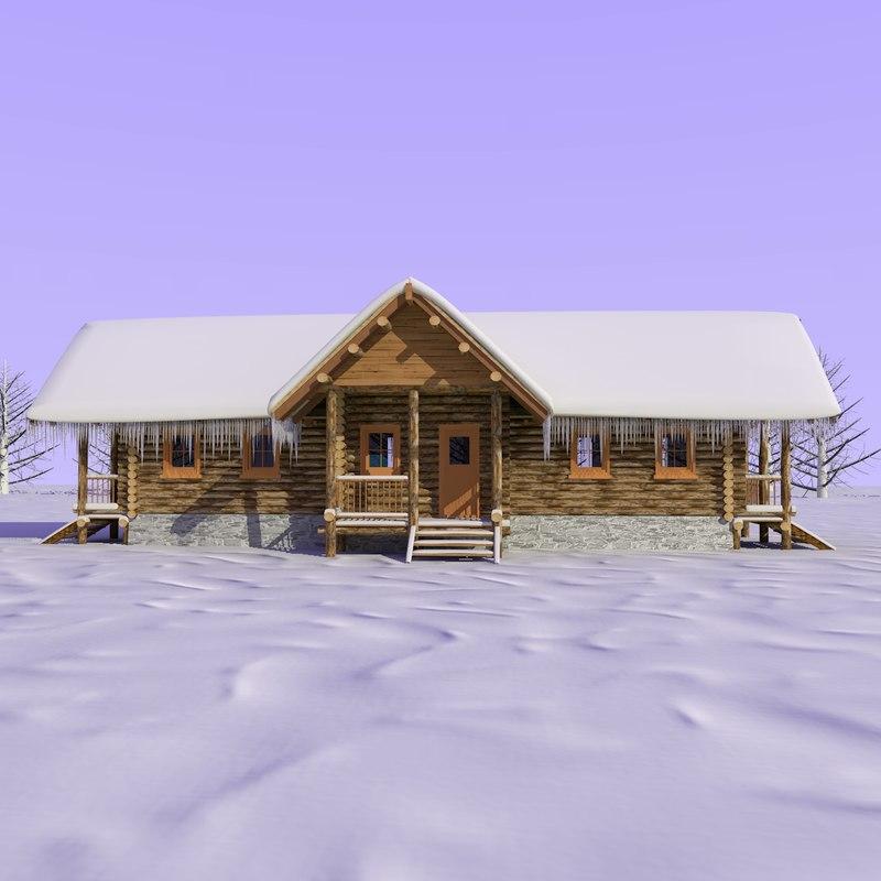 wooden cabin snow 3d model
