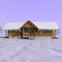 wooden cabin snow 3d model