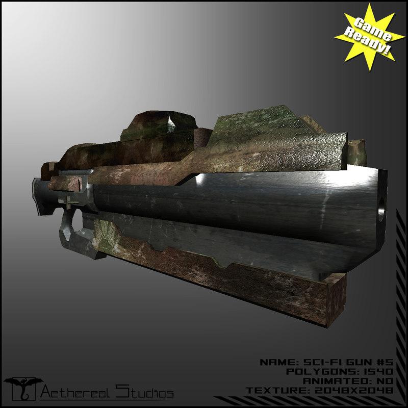 3dsmax sci-fi weapon 5 gun
