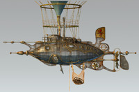 3d steampunk steam dieselpunk airship model