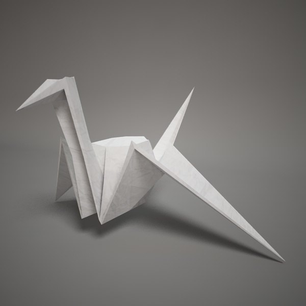 3d model of origami paper swan for Origami swan folding instructions