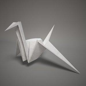 3d model of origami paper swan