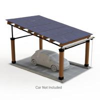 realistic solar car port 3d model