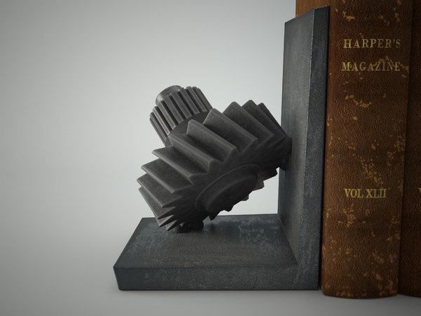 3d iron gear bookend