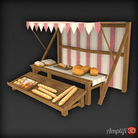 3d model of market stall bread