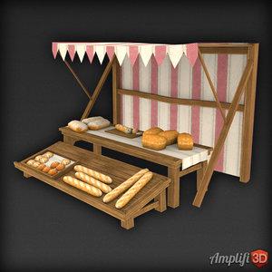 3d model of market stall bread