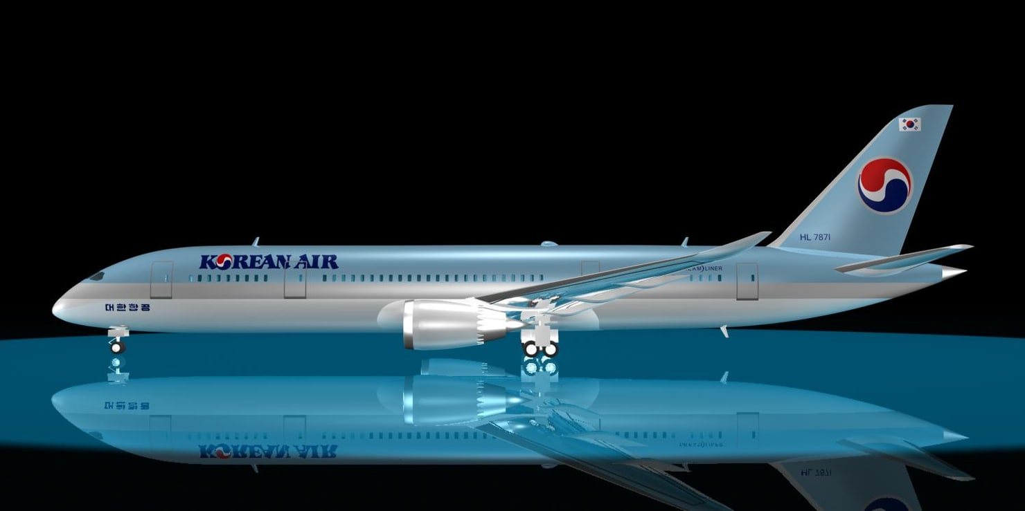 korean air 787-8 dreamliner 3d model