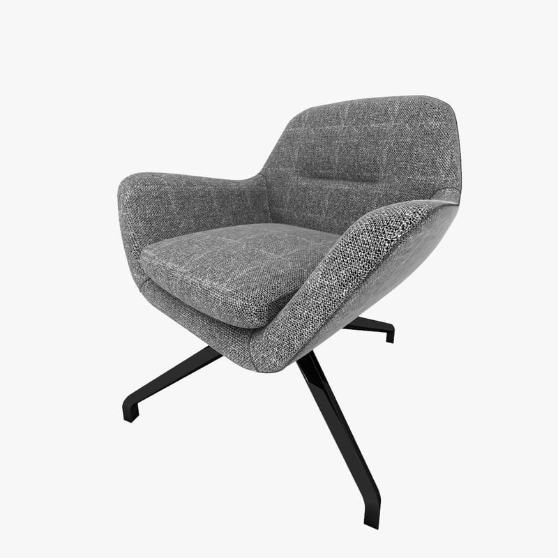 3d model minotti jensen armchair