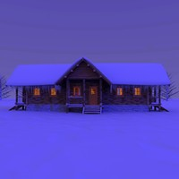 Winter Snow Log Cabin Night