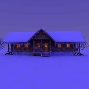 3ds wooden cabin snow night
