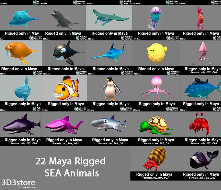 maya cartoon sea animals