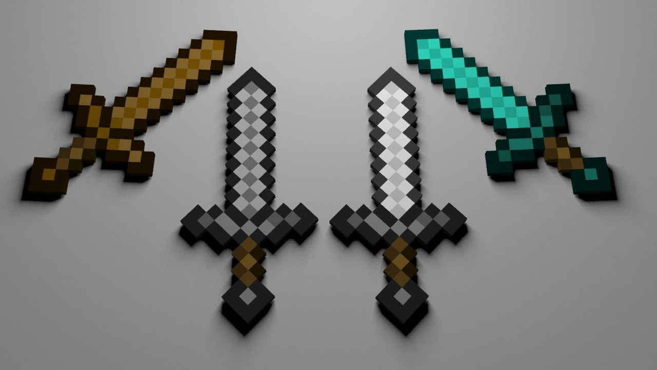 3d model swords wood stone