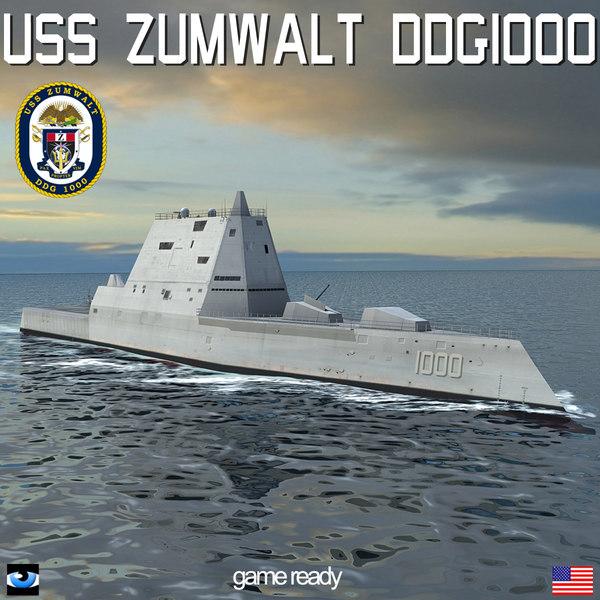 uss zumwalt ddg-1000 destroyers 3d model