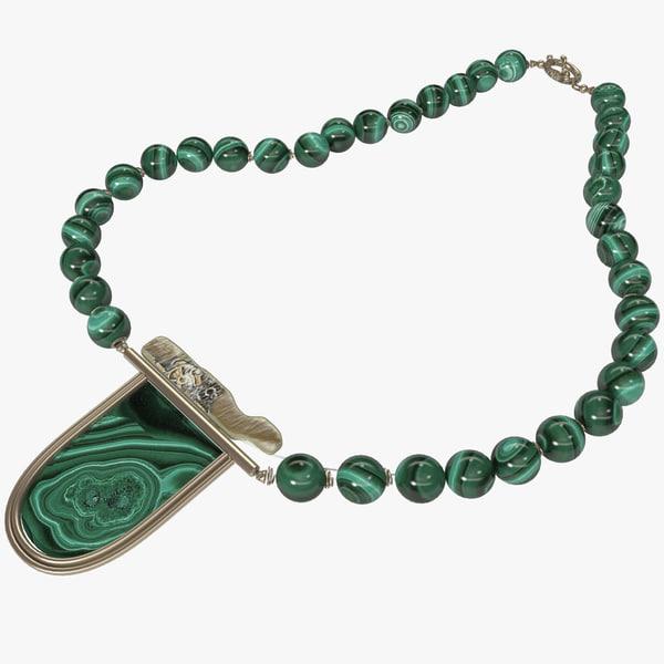 3d model of malachite necklace