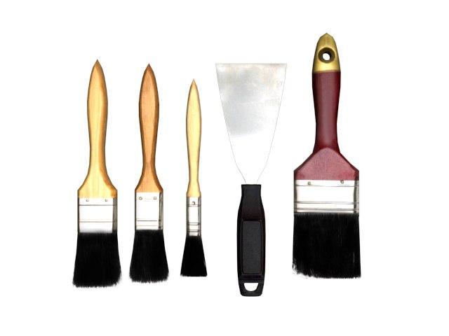 3d model painting brush scraper