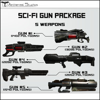 3d sci-fi weapon pack package model