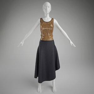 3d woman clothes- skirt mannequin model