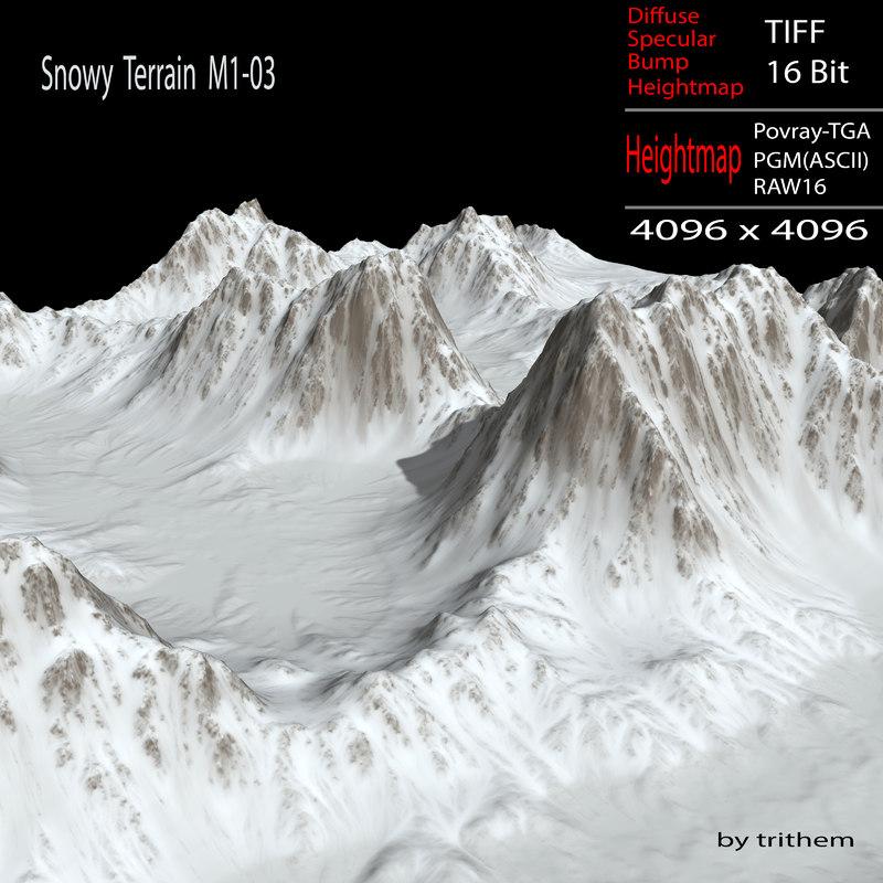 snowy terrain m1-03 3d model