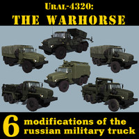 3d russian ural-4320 trucks