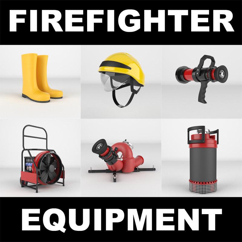 3d firefighter realistic model