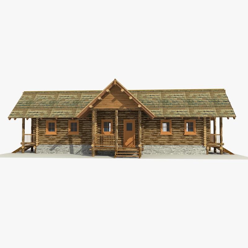 3d wooden log cabin model